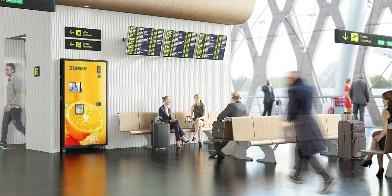 Zummo Juiceautomat Z10 installerad på flygplats